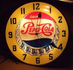 Vintage HUGE 20 INCH Yellow Pepsi Bottlecap Pam, Lighted Advertising Sign Clock. | eBay