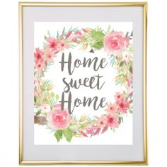 Home Sweet Home Floral Wreath Wall Art