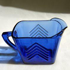 Ritz Blue Depression Glass Chevron Milk Pitcher Hazel Atlas 1930's
