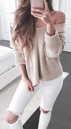 Nude sweater & white jeans
