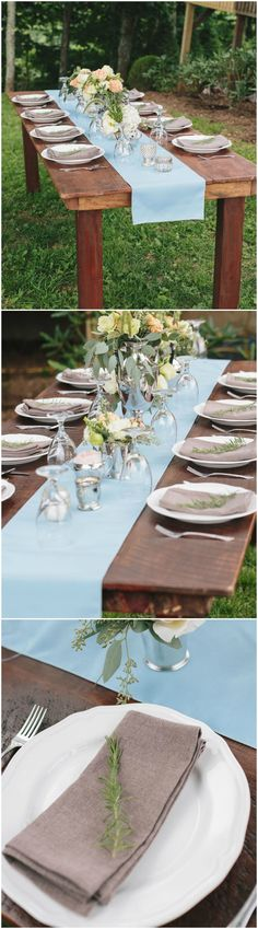 Sky blue runner, farm table, charcoal napkin, rosemary sprig, outdoor wedding reception // Red Apple Tree Photography