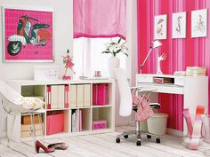 Pops of bright pink in this home office are perfect