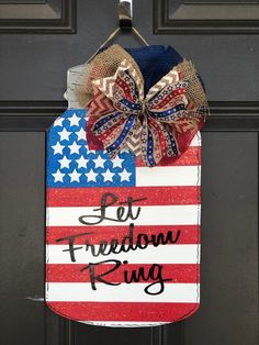 Excited to share the latest addition to my shop: of July Mason Jar Door Hanger 4th July Crafts, Patriotic Crafts, Americana Crafts, Mason Jar Crafts, Mason Jars, Canning Jars, Fourth Of July, 4th Of July Wreath, Burlap Door Hangers