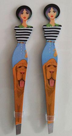 EYEBROW TWEEZERS Slanted Stainless Painted Twin Ladies Dog Walking Graphic (2) #Unbranded