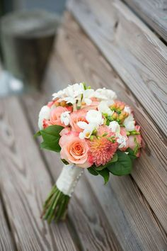#Coral #Bouquet #Dahlia #Rose | Jen + Ashley Photography | See the wedding on SMP - http://www.StyleMePretty.com/virginia-weddings/2014/01/14/elegant-backyard-wedding-in-newport-news/