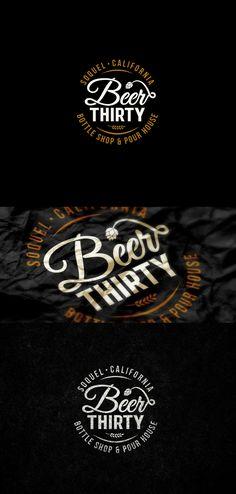 Beer Thirty by widakk (via Creattica) Beer Logo Design, Circle Logo Design, Label Design, Lettering Design, Graphic Design, Typography Logo, Logo Branding, Brewery Logos, Craft Beer Labels
