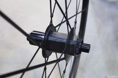 Lightweight is pairing its new automated-production rim with a new disc-specific hub. The hub shell is pentagonal so as to provide an additional measure of security in the event of a bond failure, as well as to integrate more cleanly with the 20 rim-to-rim carbon spokes. Photo: James Huang.