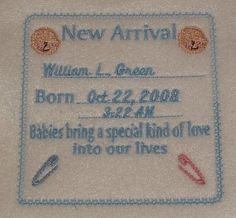 Personalized Baby Birth Announcement  Embroidered. $6.50, via Etsy.
