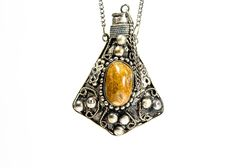 Stone and Silver Metal Vial Necklace #EBTH