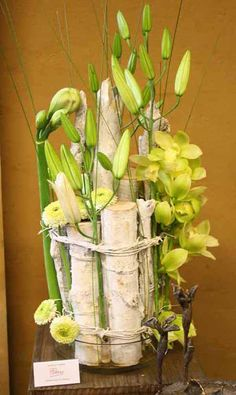birch branch with green flower arrangement. Rather than the birch, use the reclaimed wood from the altar pieces and in your color Scheme. Use the Tall Allium (Won't obstruct your guests views) Floral Centerpieces, Wedding Centerpieces, Floral Arrangements, Flower Arrangement, Ikebana Sogetsu, Birch Branches, Branch Decor, Flower Quotes, Arte Floral