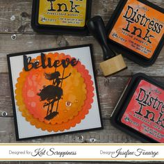 Distress Inks blended onto regular card stock; Gina Marie dies and Kat Scrappiness sentiment