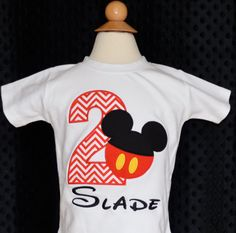 Personalized Mickey Mouse Birthday Applique Shirt or Onesie on Etsy, $30.00