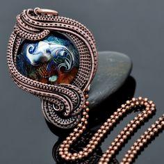 wire wrap pendant,copper pendatn,artisan glass,lampwork pendant,copper jewelry,wire weave,wire work