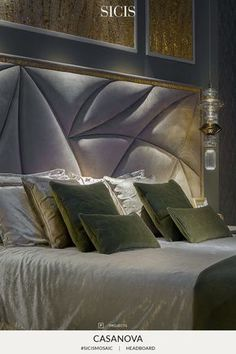 Casanova headboard is formed by a bed frame covered with shining nabuk leather that forms the containment of the mattress. The bedspread has a double face with coordinated runners . To complete the composition there are pillows with various fabrics and sizes.