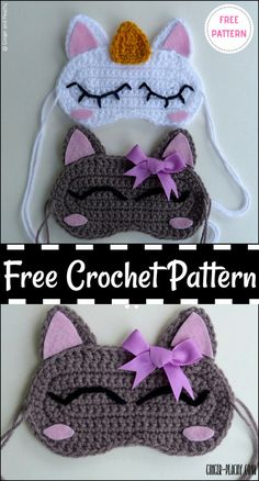 Crochet Eye Mask Free Patterns,Cat & Unicorn Sleep Masks Free Crochet Pattern-I have shown you crochet eye mask free patterns in different features and colors that will really blow your mind and they are so much easy to crochet. Crochet Unicorn Pattern Free, Crochet Unicorn Hat, Crochet Eyes, Crochet Mask, Crochet Stitches, Free Pattern, Owl Crochet Patterns, Cat Crochet, Quick Crochet