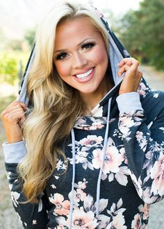 Boutique, Online Boutique, Women's Boutique, Modern Vintage Boutique, Sweater, Hooded Sweater, Floral Sweater, Long sleeve Sweater Grey Sweater, Cute, Fashion