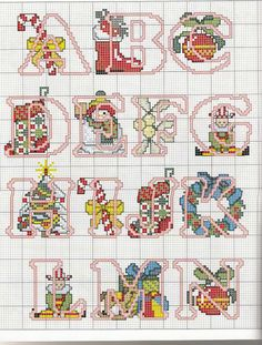 Cross-stitch Christmas Alphabets, part 1.. color chart on part 2  Gallery.ru / Фото #111 - 2 - KIM-3