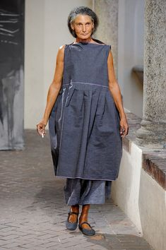A Really ugly outfit, looks like something a cleaning lady would wear, but Kudos for the elderly model!  Daniela Gregis Spring 2012