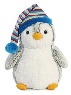Our foot tall Penguin Pom Pom Plush with a blue bobble cap is one cute and unique penguin. This penguin is ready to look cool when the weather turns chilly. Like all our Aurora plush this plush pengui