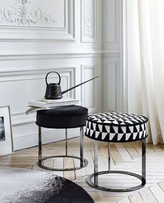 black and white | modern stools, with black and white pattern | www.bocadolobo.com/ #luxuryfurniture #designfurniture