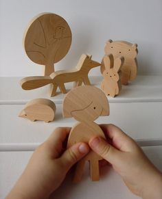 Gift ideas - Wooden toy - girl and forest friends - woodland animals - eco friendly - waldorf. $39.00, via Etsy.