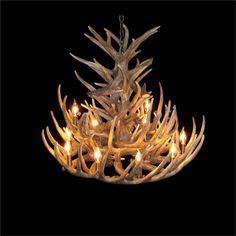 鹿角シャンデリア ペンダントライト 鹿角照明 リビング/店舗照明 樹脂製 12灯 茶褐色 LED対応 即日発送