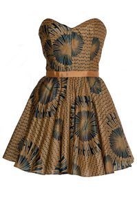 African print Gold and Navy tribal dress by Style Icon's Closet style Vintage Inspired Pin-Up African Print Retro Rockabilly Clothing kitenge African Inspired Fashion, African Dresses For Women, African Print Dresses, African Print Fashion, African Attire, African Wear, African Prints, African Women, African Style