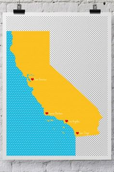 "Trendy Neighborhood Word Art  California Hearts Print - 18"" x 24"""