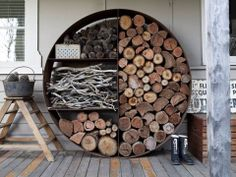 Wood pile in old rain tanks - great organisation ..... keep away from house to prevent fire and snakes