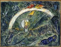 Marc Chagall - Noah and the Rainbow, 1963 - Musée national Message Biblique Marc Chagall, Nice, France Marc Chagall, Artist Chagall, Chagall Paintings, Pablo Picasso, Monet, Folklore Russe, Art Sur Toile, Jewish Art, Art Database