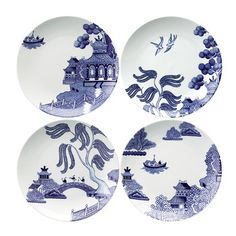 Willow Love Story Salad Plates - Set of 4 - 21cm