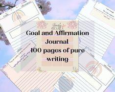 Affirmation and Goal Journal by MySpiritualBeing on Etsy Spiritual Coach, Spiritual Awakening, Spiritual Quotes, Goal Journal, Journal Ideas, Soul Healing, Higher Consciousness, Journal Entries, Self Development