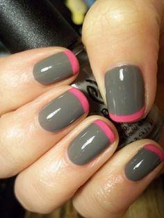 pink tips on grey nail polish