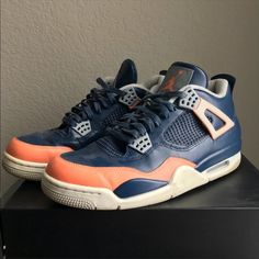 san francisco dd967 a6be1 Jordan Shoes   Nike Air Jordan Retro 4 Custom Salmon Toe Sneakers   Color   Blue