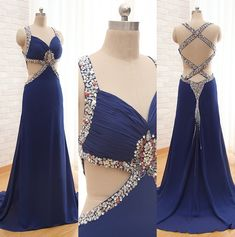 Custom Made Navy Blue Sexy Prom Dresses,long Chiffon Prom Dresses,Backless Prom Dresses , Cheap Pro on Luulla