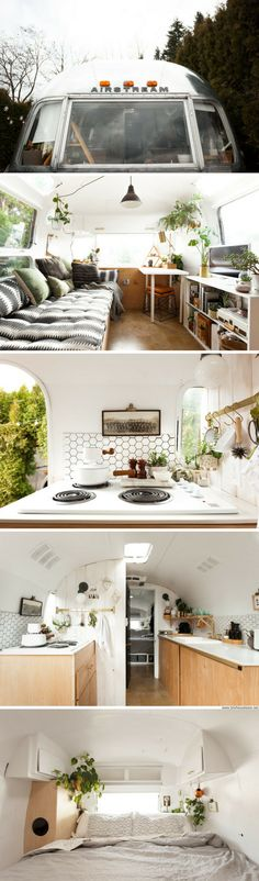 The Tin Can Homestead: a remodelled 1971 Airstream trailer with just 200-sq-ft of space! Owned by illustrator Natasha Lawyer