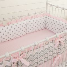 Pink and Gray Chevron Crib Bumper with Ruffle #carouseldesigns