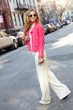 NYC editor Annie's white-on-pink getup. Photos by Bek Andersen.