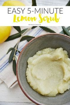 A 5-minute diy lemon sugar scrub that is so easy to make. Use on the face and/or body. (Click here for the homemade recipe!)