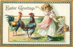 EASTER GREETINGS girl holds out food with her right hand to two chickens, hides more food behind, blue/gilt border Scrapbook Vintage, Wedding Save The Dates, Vintage Ephemera, Hang Tags, Vintage Postcards, Altered Art, Gift Tags, Rooster, Victorian