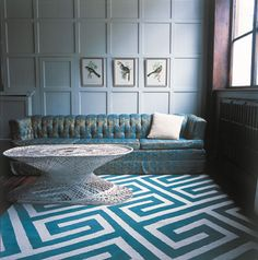 Key Turquoise rug by Suzanne Sharp for the Rug Company's Contemporary Collection.