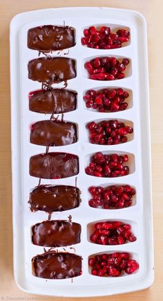 How To Make Your Own Healthier Chocolate Candies In An Ice Cube Tray: no corn syrup, no refined sugar, YOU control the ingredients that go in. Recipe and instructions here: http://chocolatecoveredkatie.com/2015/02/05/heart-healthy-homemade-chocolate-candies/