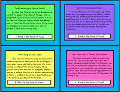 """These 32 Common Core Task Cards are created by The Teacher Next Door.Each """"Point of View"""" task card has an excerpt from a piece of literature and asks students to identify the point of view from which the story was written, either first or third person. I really like using task cards and think they are such a versatile tool for the classroom."""