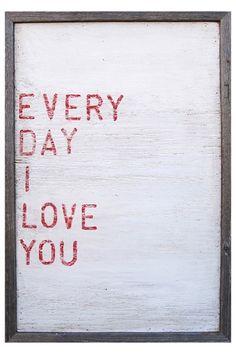 Love print in frame.