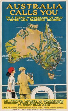 "Allan M.) / ""Australia Calls You"" travel poster depicts map of Australia w/ rivers and lakes exaggerated, and couple on ship deck, from Australian Railways Commissioners, c. Vintage Advertising Posters, Vintage Travel Posters, Vintage Advertisements, Poster Art, Retro Poster, Belle Epoque, Posters Australia, Australia Photos, Australian Vintage"