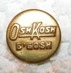 OshKosh B'Gosh Overall Work Clothes Button Vintage Wobble Shank