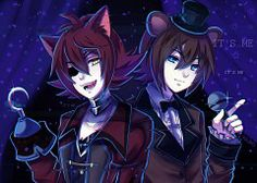 I absolutely love this pic of foxy and freddy ANIMEEEE!!!! lets show our fnaf spirit people!!!! go out and post fnaf 4 me my lovely people and animatronics!!!! I love my fans and make sure to put a like and a follow for more pins of everything totally AWESOME!!!!!!