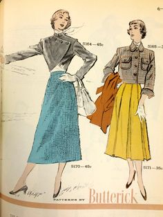 A page from an October 1950 Butterick catalog. #vintagepatterns #vintagesewing