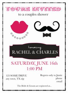 Couples Shower Wedding Invitation-- Modern Mustache and Lips with Vintage, Retro Style