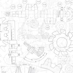Abstract grunge technical drawing.File is layered and